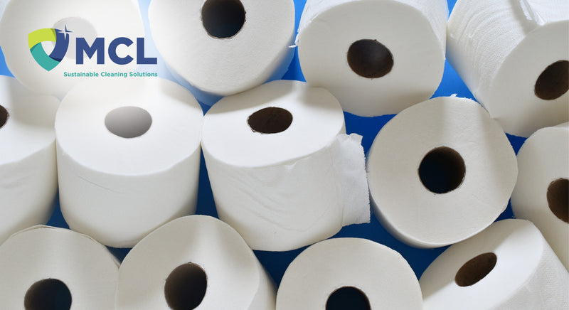 Rolls of Toilet Paper and MCL logo