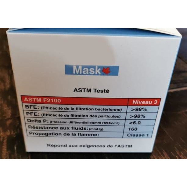 Level 3 Made in Canada 3-Ply Masks - Medical Grade - Made in Canada (Box with 50)