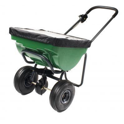 "Heavy Duty Salt Spreader 100lb 10"" Pneumatic Tires"
