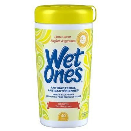 Wet Ones Antibacterial Hand and Face Wipes Citrus Scent 40 Sheets
