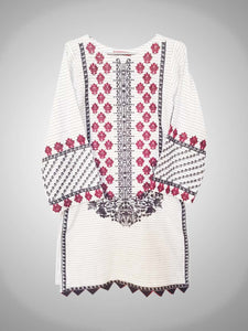 White Kurti Cotton Lining Embroidered Dress