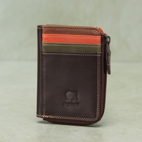 Mywalit Italian leather ID wallet with zip closure