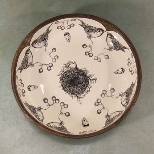 Small pasta bowl, songbird and nest design