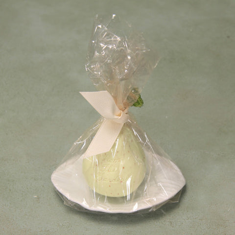 Pear soap in porcelain leaf dish