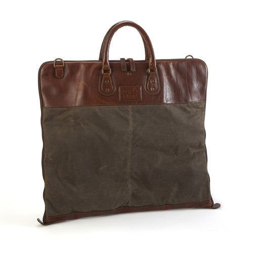 Moore and Giles oiled canvas and leather garment bag