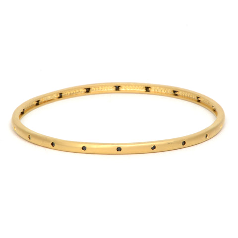 14k gold vermeil bangle with inset black crystals