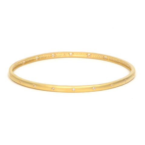 14k gold vermeil bangle with inset white crystals