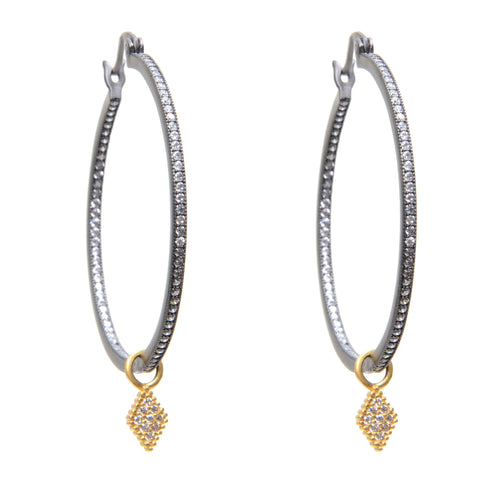 Oxidized sterling silver hoop earrings with inset crystals and 14k gold vermeil diamond shaped drop