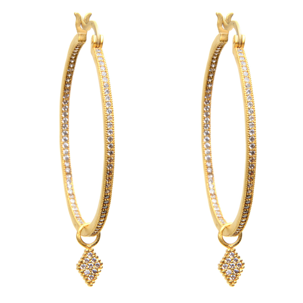 14k gold vermeil hoop earrings with inset crystals and 14k gold vermeil diamond shaped drop