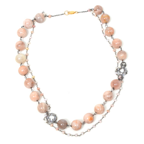 Double strand pink chalcedony necklace with diamond and crystal charms