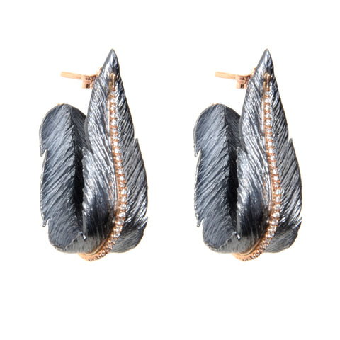 Hoop earrings in leaf design on post in oxidized sterling and 18k rose gold