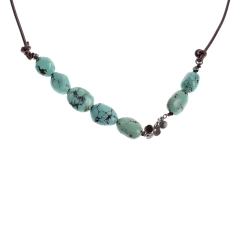Asymetric turquoise necklace and oxidized silver on leather, approximately 16""