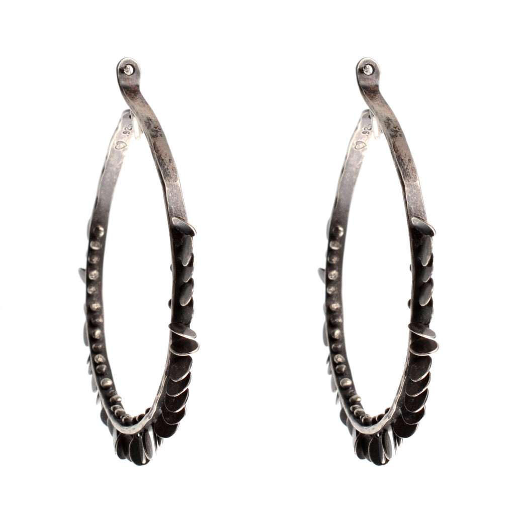 Extra large hoop earring with oxidized silver circles