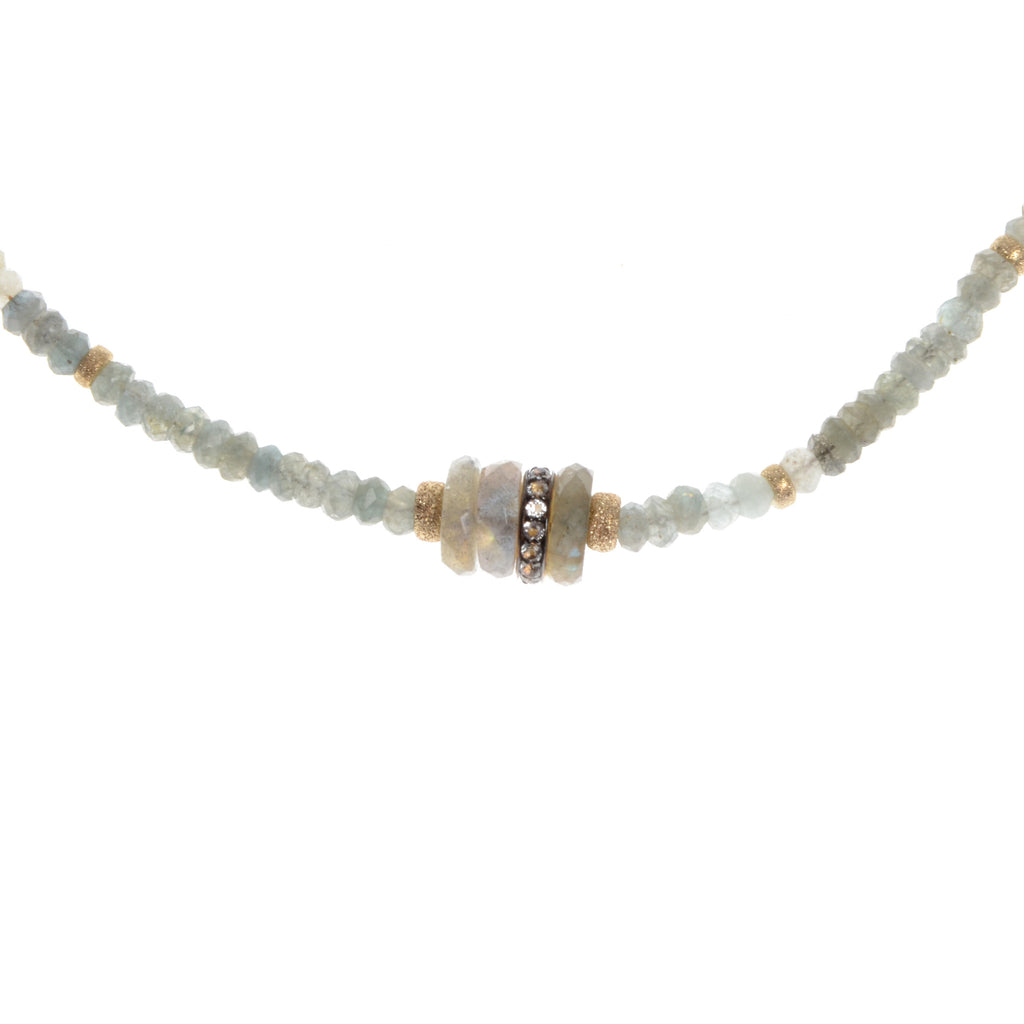 Choker of moss/aquamarine and labradorite with small barrel in center, 15-17""