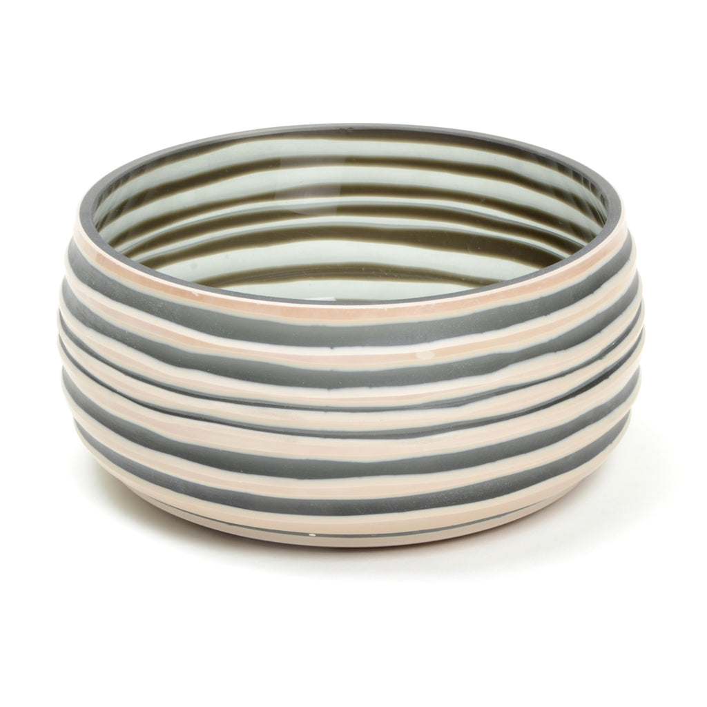 Strata bowl in beige and grey