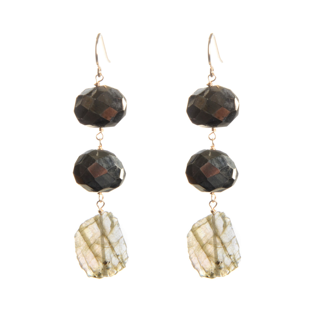 Three stone drop earrings in gold fill with pyrite and labradorite