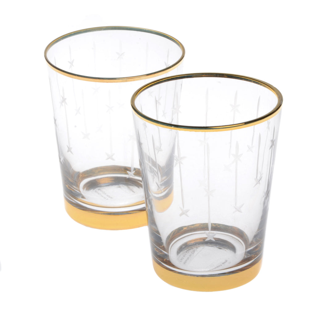 Crystal tumbler with gold rim