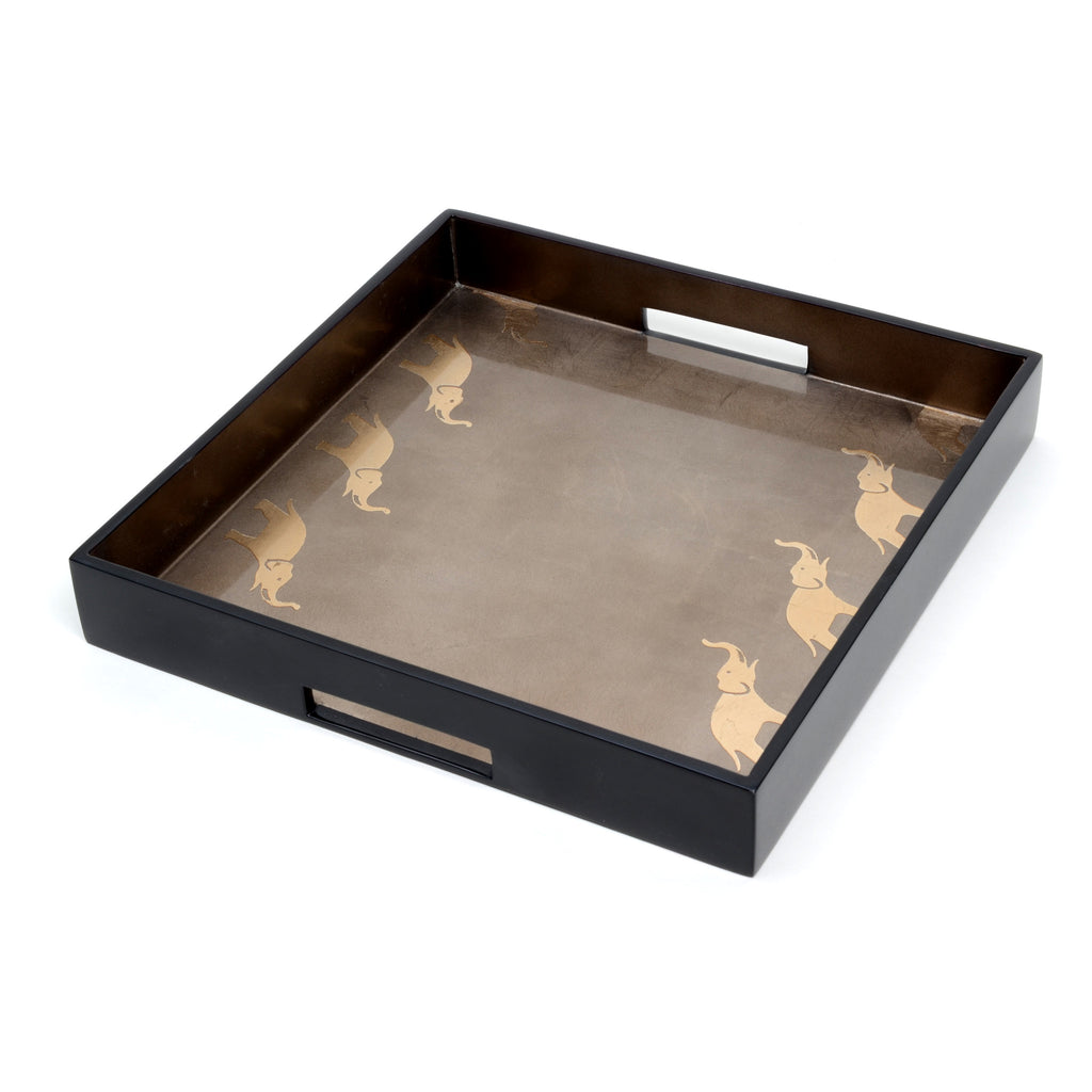 "Square tray, 14"" x 14"", with elephant borders on espresso background"