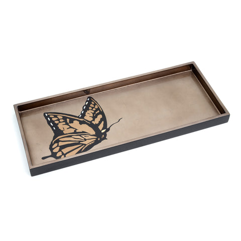 "Cocktail tray, 17""x7"", monarch on espresso background"