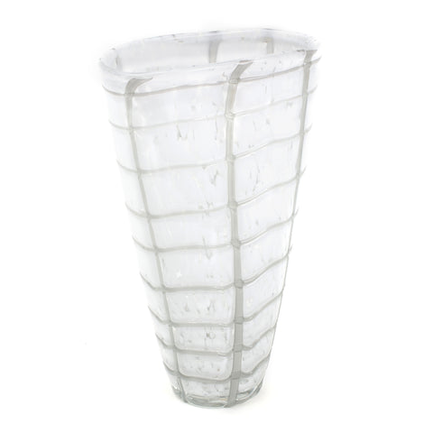 Hand-blown white glass vase  with large grid pattern