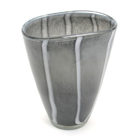 Hand-blown grey glass vase with white stripes