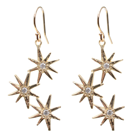 Triple gratitude star earrings in 14K yellow gold and diamonds
