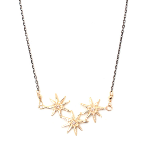 Triple gratitude star necklace in 14K yellow gold with diamonds