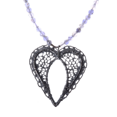 "Lace heart necklace in sterling silver on 16""iolite chain"