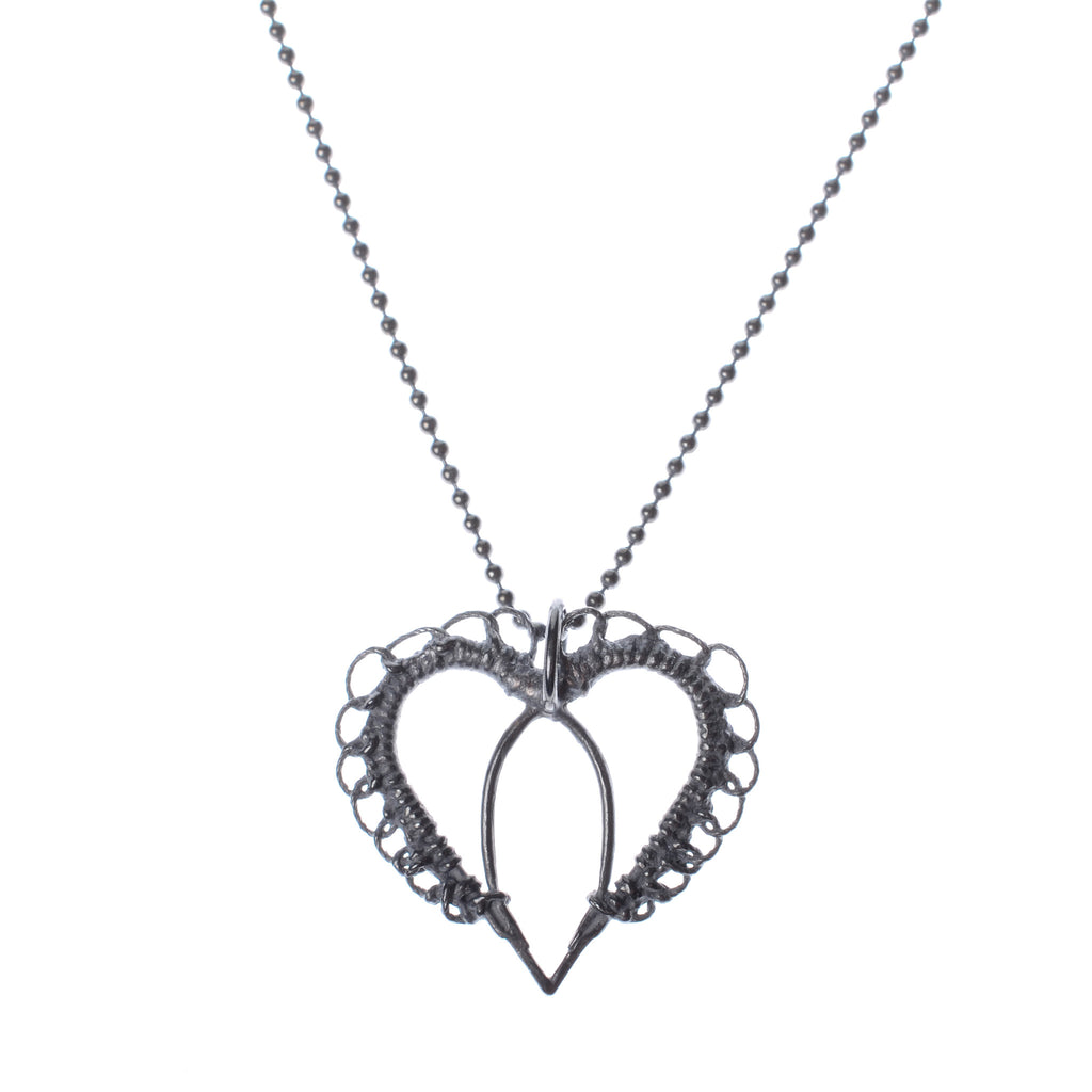 "Oxidized woven flat heart necklace on 16"" chain"