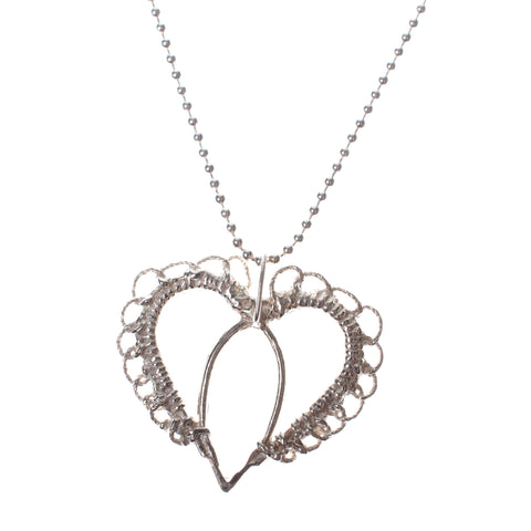 "Sterling woven flat heart necklace on 16"" chain"