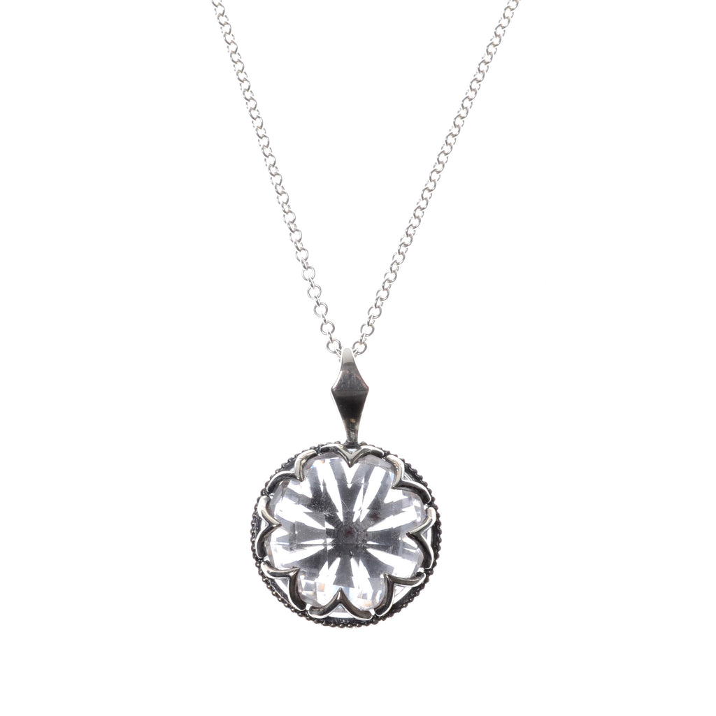 "Multi-faceted white topaz pendant on 16"" sterling silver chain"