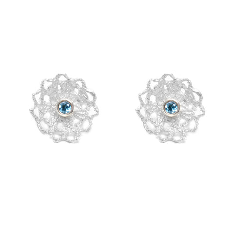 Woven sterling doilie earrings on post with blue topaz center stone
