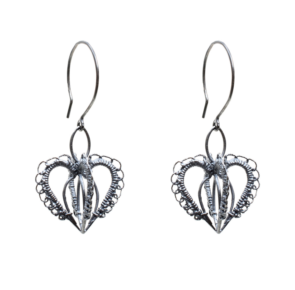 Oxidized sterling three dimensional woven heart earring