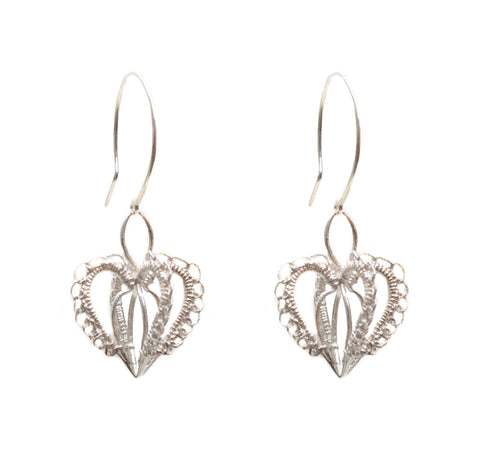Sterling three dimensional woven heart earring