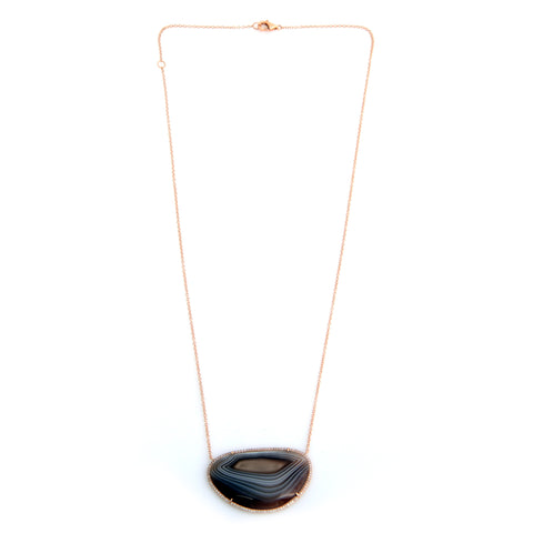 "14K rose gold agate pendant surrounded by diamonds, 16 & 18"" long"