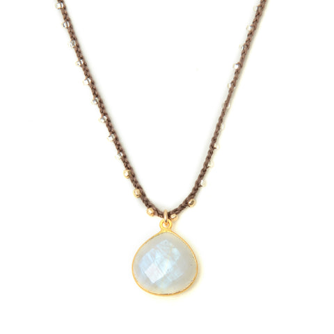 "Moonstone pendant on beaded hand crocheted 16-18"" chain"
