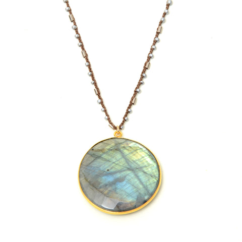 "Large labradorite pendant on 32"" hand crocheted  chain"