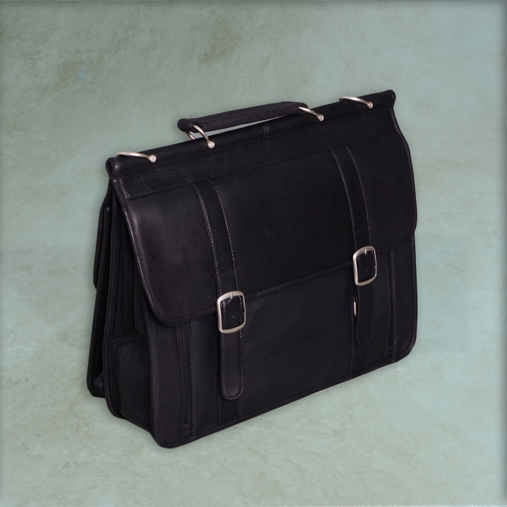 Briefcase with two buckles, shoulder strap