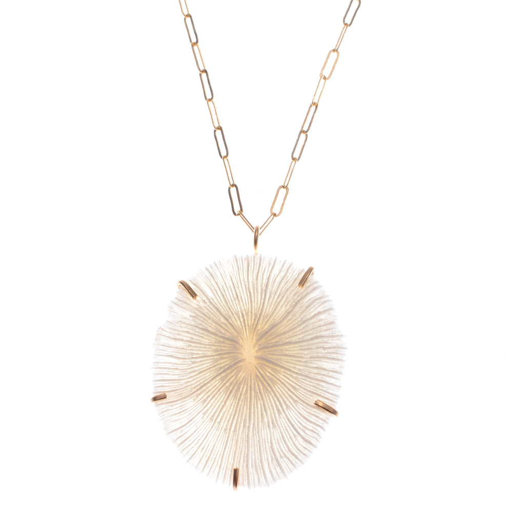 "Mushroom coral necklace on 16"" 14k gold fill chain"