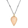 "Petal shaped druzy on 16-18"" gunmetal chain"