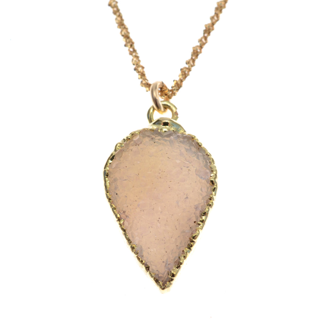 "Petal shaped druzy on 16-18""14k gold fill chain"