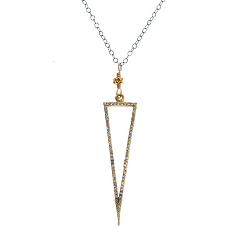Crystal triangle necklace  on gunmetal chain