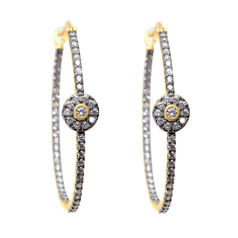 Two tone hoop earrings with post back, oxidized hoop with assorted shape gold bezeled crystals