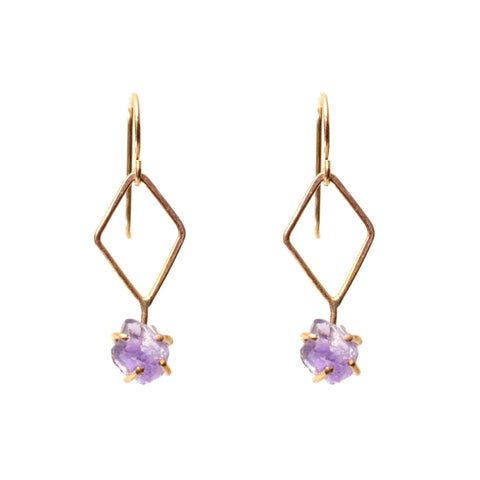 Amethyst 14k gold fill dangle earring