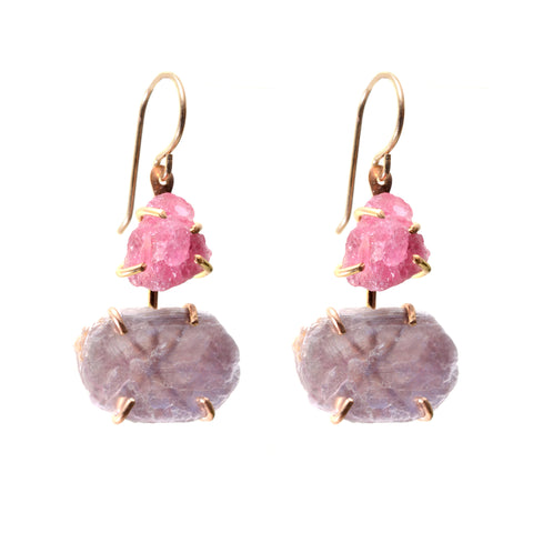 Pink tourmaline and lepidolite 14K gold fill double dangle earring