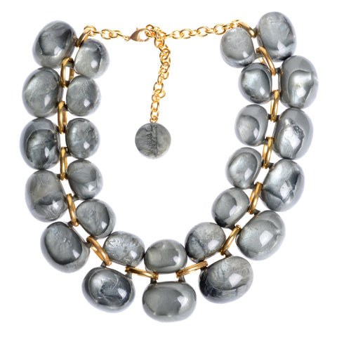 Grey bubble double row resin necklace with gold-fill connectors and clasp, variable length 16-20""
