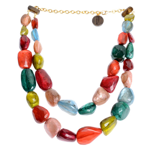 Multi-colored, irregular shaped double row resin necklace, variable length 20-24""