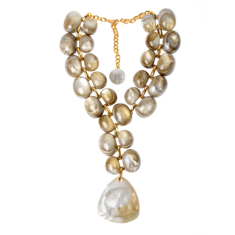 "Beige bubble double row resin necklace with gold-fill connectors and clasp with large triangular drop, variable length 22-25"" (total length)"