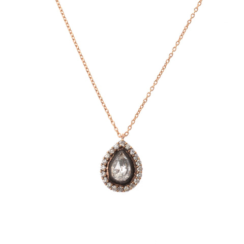 "Teardrop white topaz pendant with diamond surround on a 16"" 18K rose gold chain"