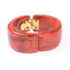 Red resin hinged wide bangle bracelet